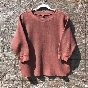 CASUAL TEXTURED WAFFLE KNIT T-SHIRT SWEATER